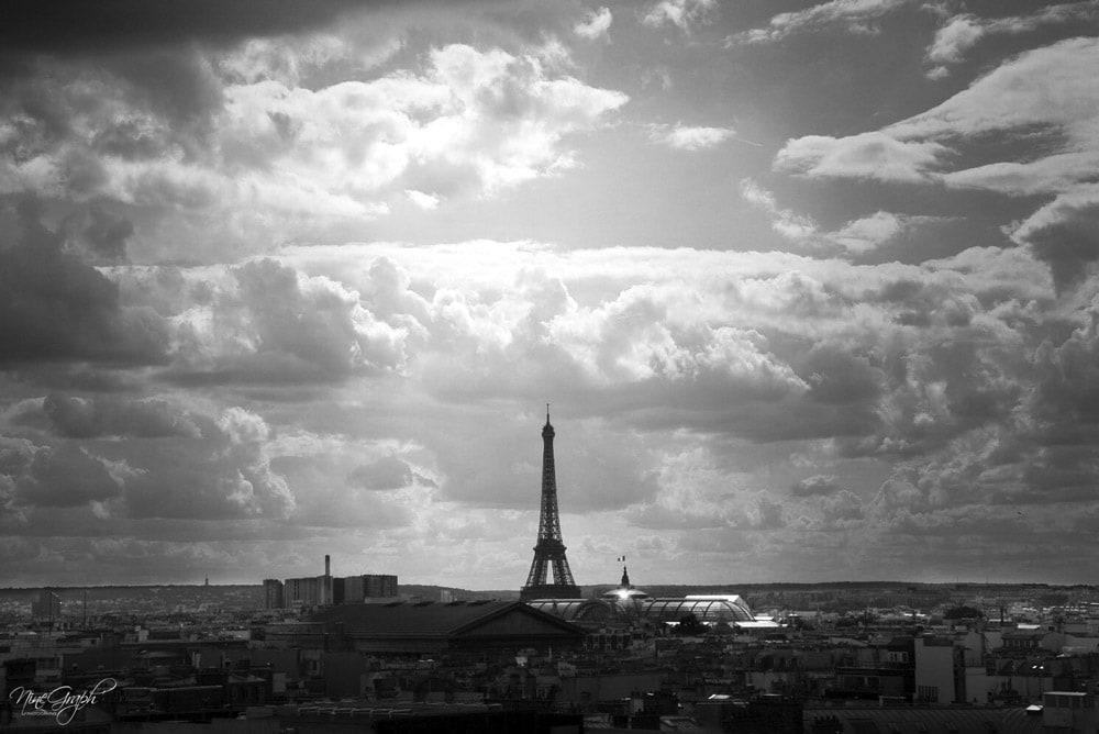 Monochrome, Tour Eiffel du toit des Galeries Lafayette à Paris - Monochrome