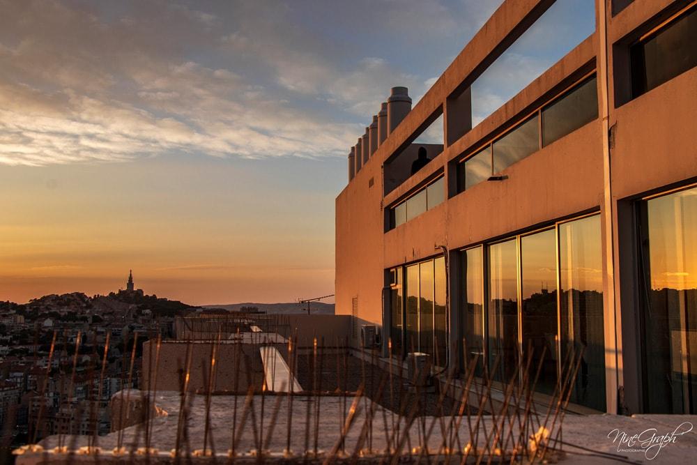 Coucher de soleil, Marseille, vue du toit du Grand Pavois