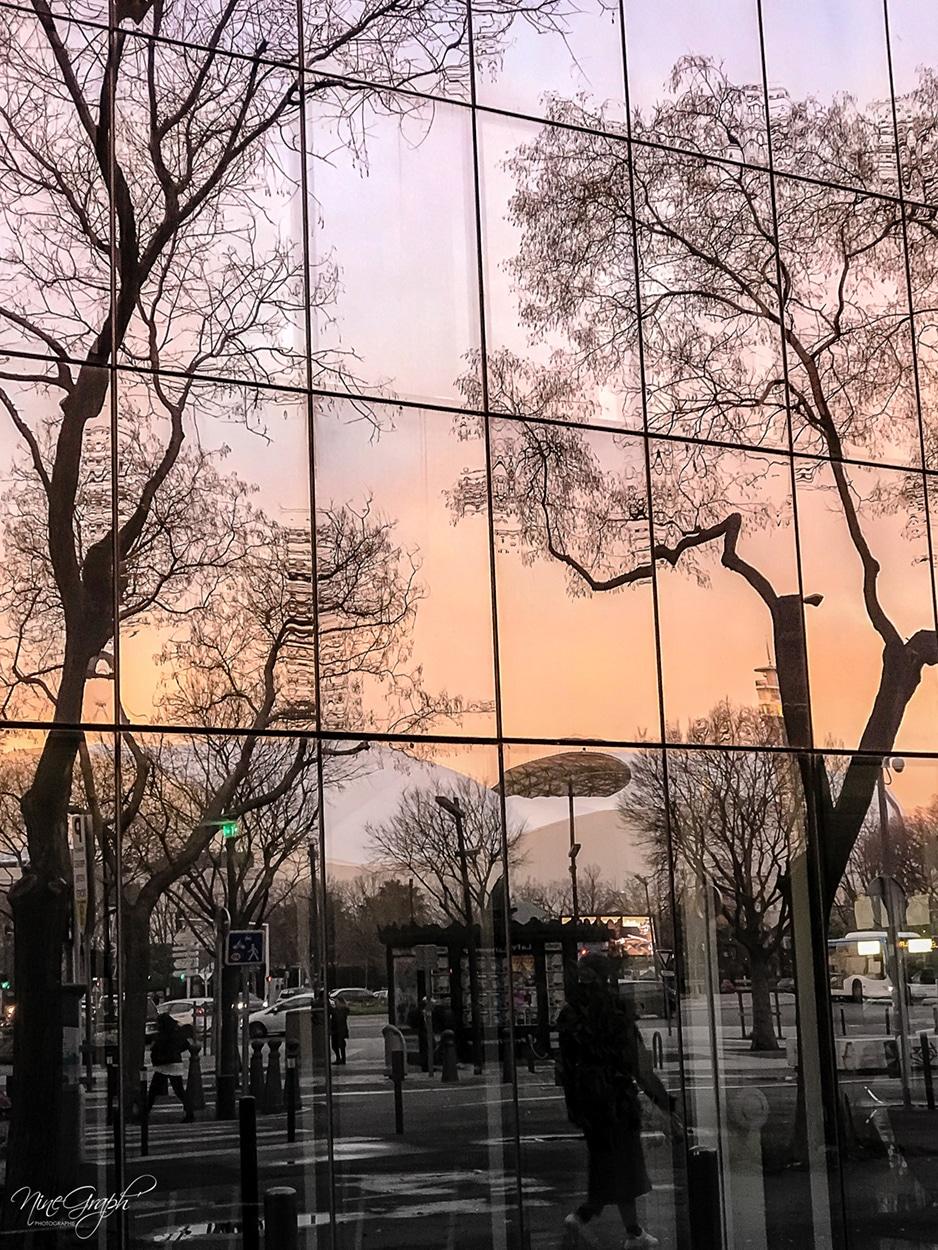 Coucher de soleil, reflet du Mucem, Marseille