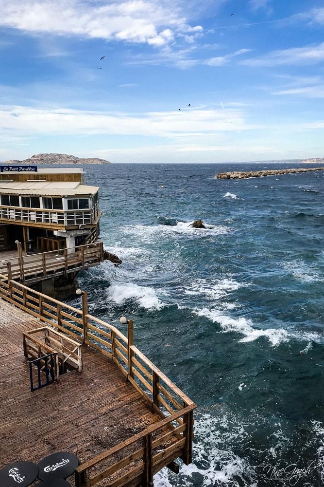 Le Petit Pavillon sur la corniche Kennedy à Marseille un jour de tempête